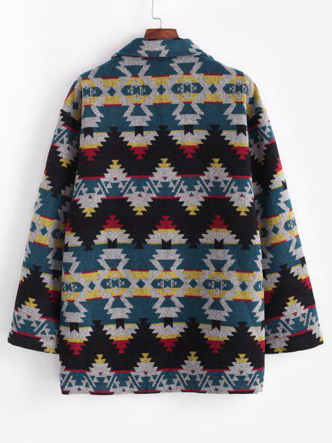 Ethnic Tribal Pattern Knitted Jacket - أزرق XL Mobile
