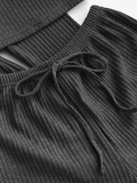 new Ribbed Knit Cami Pajama Set with Robe - BLACK M Mobile
