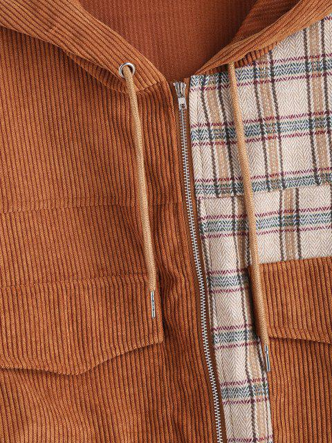 online Hooded Plaid Panel Corduroy Jacket - COFFEE M Mobile