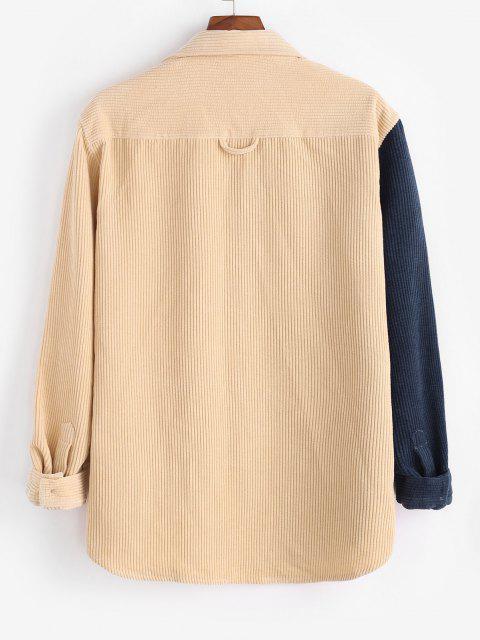 trendy Two Tone Corduroy Shirt - LIGHT COFFEE L Mobile