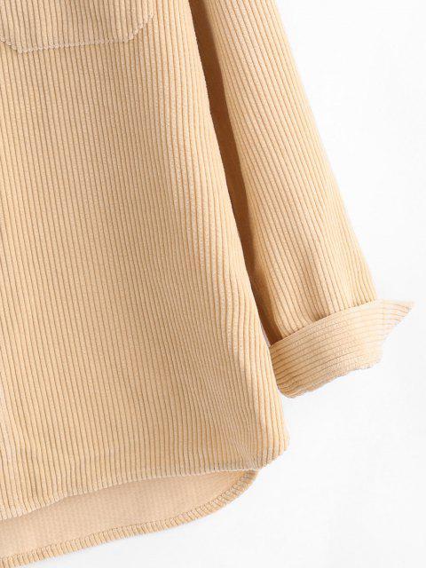unique Two Tone Corduroy Shirt - LIGHT COFFEE XL Mobile