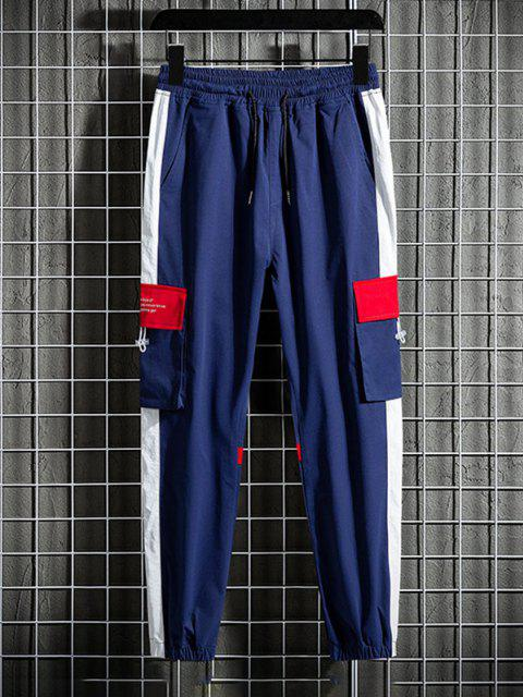 affordable Letter Print Side Colorblock Panel Beam Feet Cargo Pants - RED M Mobile