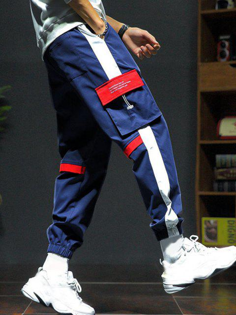 Pantalones de Carga con Estampado de Letras con Panel de Bloqueo de Color - Rojo M Mobile