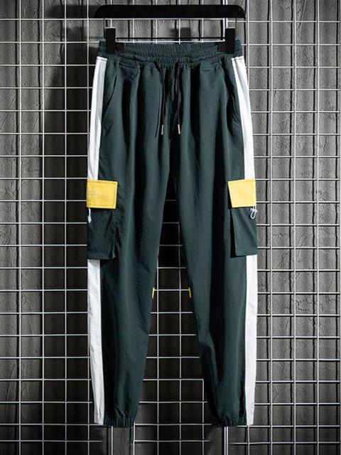 Pantalones de Carga con Estampado de Letras con Panel de Bloqueo de Color - Amarillo Brillante M Mobile