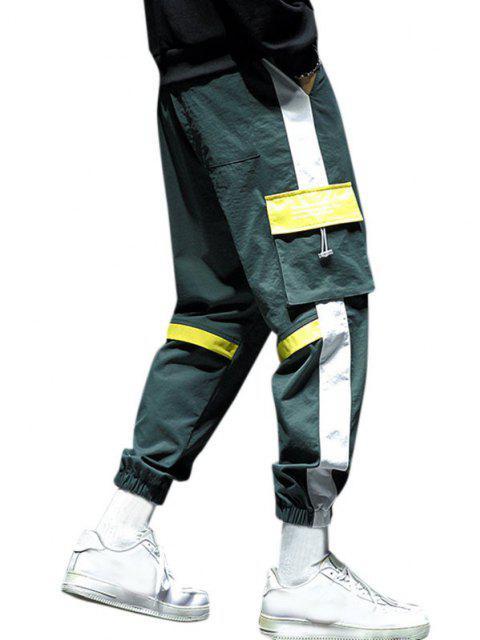 Pantalones de Carga con Estampado de Letras con Panel de Bloqueo de Color - Amarillo Brillante S Mobile