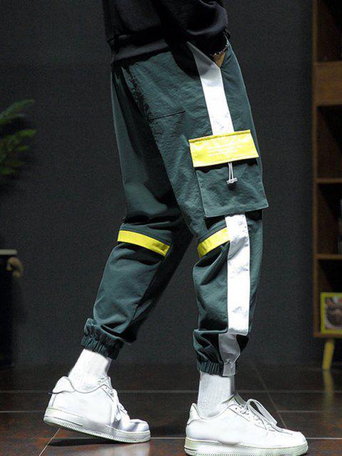 Pantalones de Carga con Estampado de Letras con Panel de Bloqueo de Color - Amarillo Brillante XL Mobile