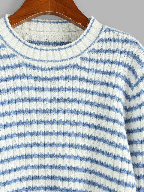 women ZAFUL Striped Crop Jumper Sweater - LIGHT BLUE M Mobile