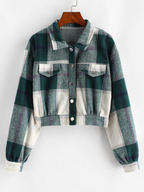 Button Up Plaid Wool Blend Jacket - ديب غرين M Mobile