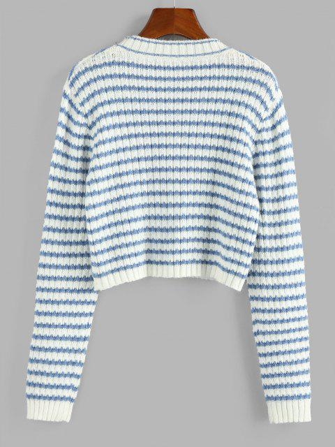 ZAFUL Gestreifter Crop Pullover - Hellblau XL Mobile