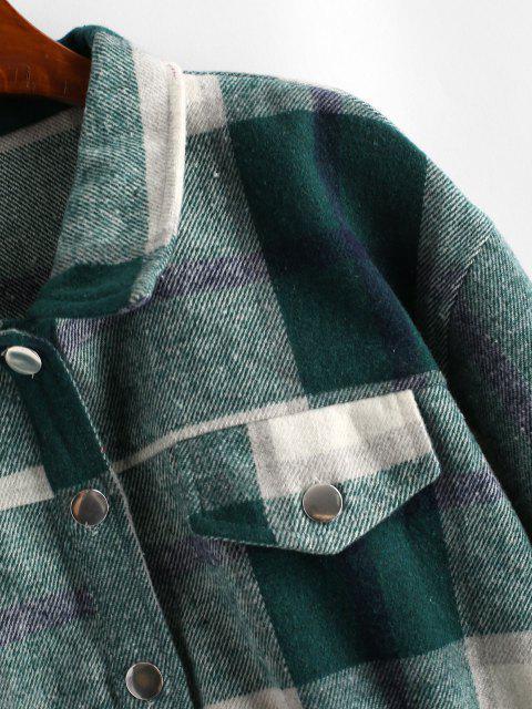 womens Button Up Plaid Wool Blend Jacket - DEEP GREEN XL Mobile