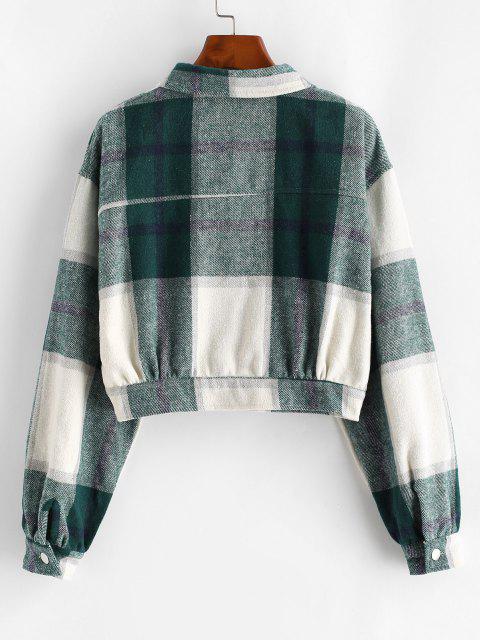 Button Up Plaid Wool Blend Jacket - ديب غرين L Mobile