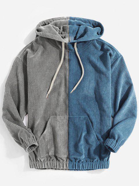 best Color Blocking Panel Corduroy Hoodie - BLUE S Mobile