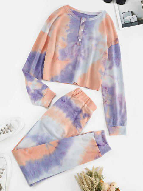 fashion Tie Dye Button Front Two Piece Sweat Suit - LIGHT PURPLE L Mobile