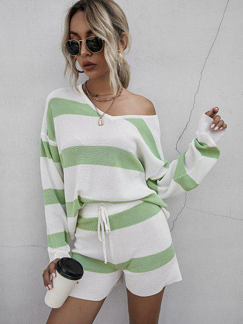ladies Striped Drop Shoulder Sweater Shorts Set - LIGHT GREEN S Mobile