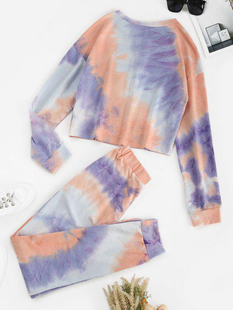 outfits Tie Dye Button Front Two Piece Sweat Suit - LIGHT PURPLE M Mobile