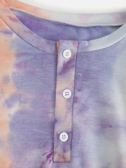 shop Tie Dye Button Front Two Piece Sweat Suit - LIGHT PURPLE XL Mobile