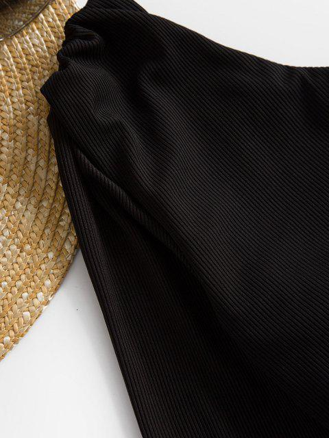 ladies ZAFUL Tie Waist Ribbed One Shoulder Swim Top - BLACK S Mobile