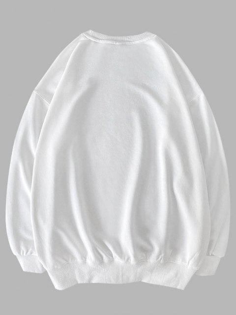 Sweatshirt mit Buchstabe Grafik und Rundhalsausschnitt - Weiß 2XL Mobile