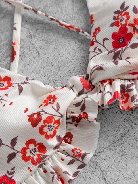ZAFUL Verknotetes Volant Bikini Badebekleidung - Weiß S Mobile