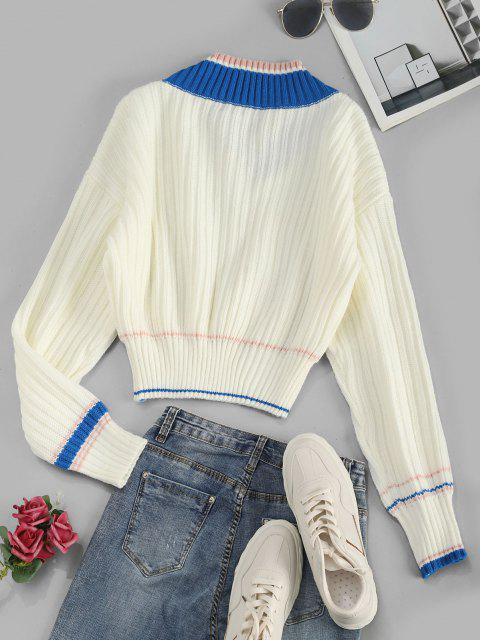 Hängender Schulter Pullover mit V Ausschnitt und Streifen - Weiß Eine Größe Mobile