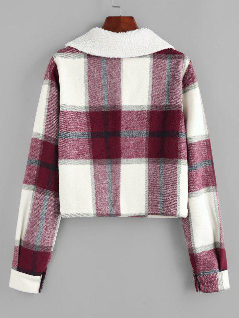 ZAFUL Plaid Raw Cut Teddy Collar Flap Detail Jacket - نبيذ احمر L Mobile