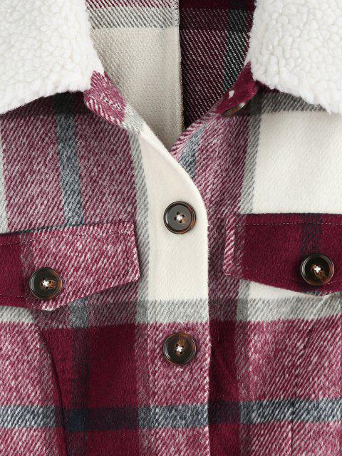 fancy ZAFUL Plaid Raw Cut Teddy Collar Flap Detail Jacket - RED WINE S Mobile