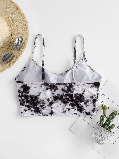 ZAFUL Tie Dye Rib Cropped Bikini Top - Dark Slate Grey S Mobile