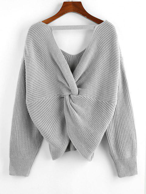 fancy ZAFUL Multiway Twisted Drop Shoulder Plunging Sweater - LIGHT GRAY M Mobile