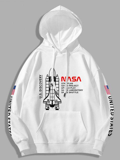 affordable Space Shuttle American Flag Letter Print Graphic Hoodie - WHITE XL Mobile