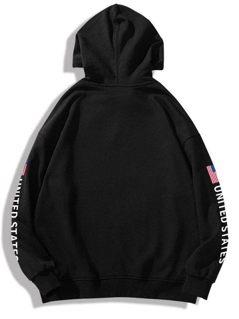 womens Space Shuttle American Flag Letter Print Graphic Hoodie - BLACK XS Mobile