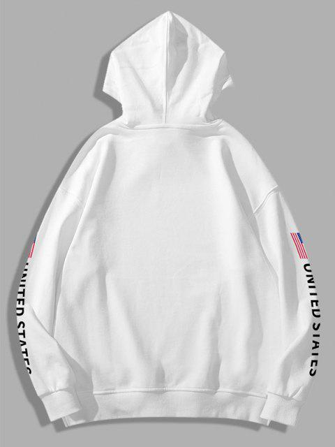 buy Space Shuttle American Flag Letter Print Graphic Hoodie - WHITE L Mobile