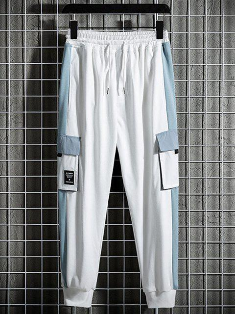 latest Colorblock Panel Pocket Patch Jogger Cargo Sweatpants - WHITE M Mobile