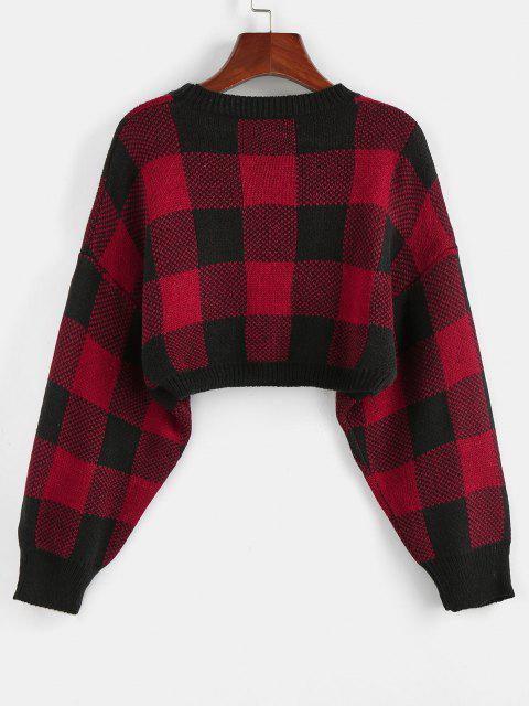 chic ZAFUL Plaid Drop Shoulder Crop Sweater - CHESTNUT RED L Mobile