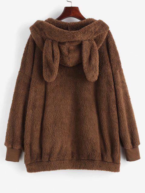 trendy ZAFUL Bunny Ear Hooded Drop Shoulder Plush Coat - DEEP COFFEE M Mobile
