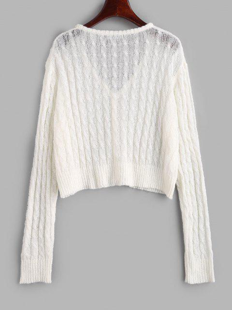 hot Cable Knit Semi Sheer Cardigan - WHITE M Mobile