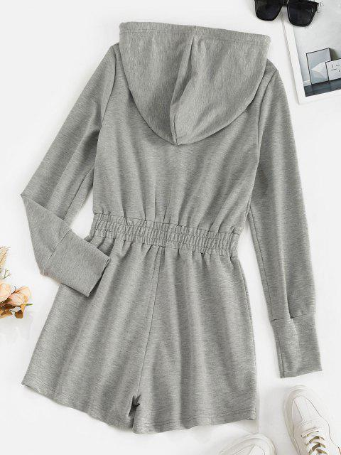 lady ZAFUL Drawstring Hooded Zip Front Sweat Romper - LIGHT GRAY S Mobile