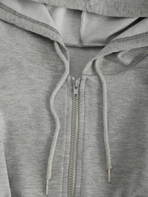 sale ZAFUL Drawstring Hooded Zip Front Sweat Romper - LIGHT GRAY M Mobile