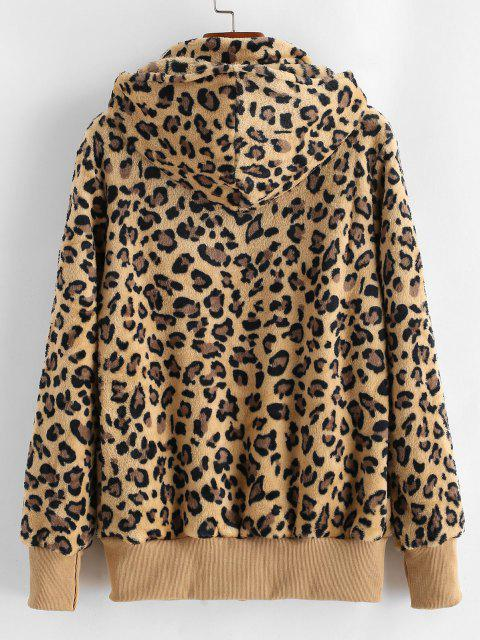 Pockets Zip Up Leopard Faux Fur Coat - خشب M Mobile