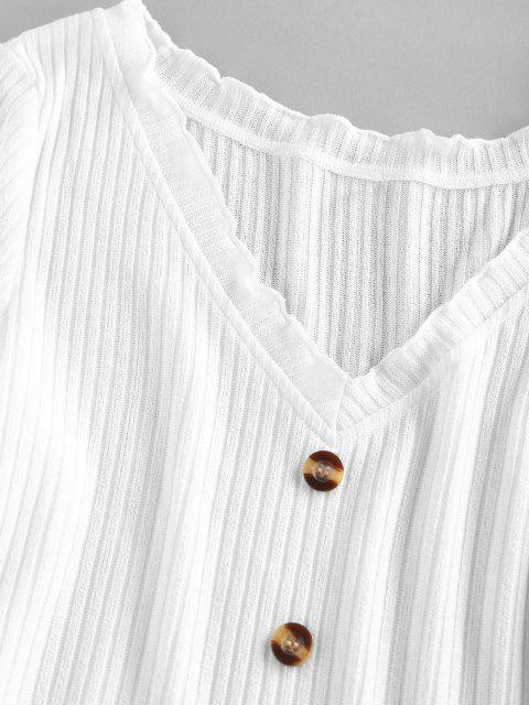 womens ZAFUL Ribbed Lettuce Mock Button Crop Sweater - WHITE L Mobile