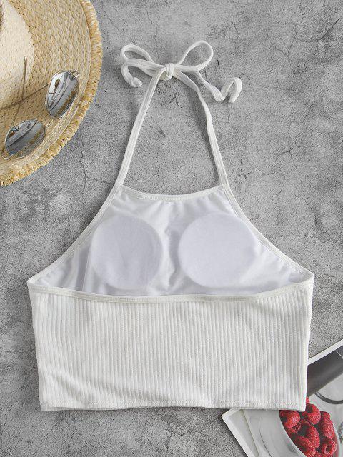 ZAFUL Halter Ribbed Cropped Swim Top - أبيض S Mobile