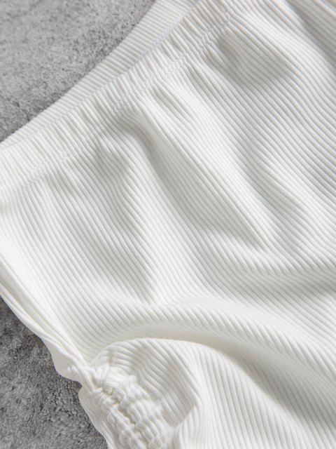 online ZAFUL Ribbed Side Cinched Swim Boyshorts - WHITE S Mobile