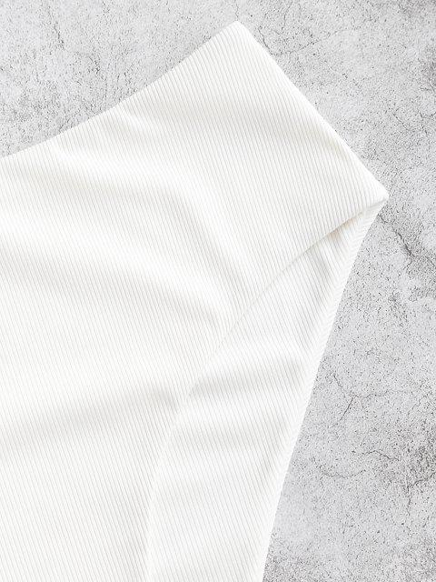 outfits ZAFUL Ribbed High Leg Swim Bottom - WHITE M Mobile
