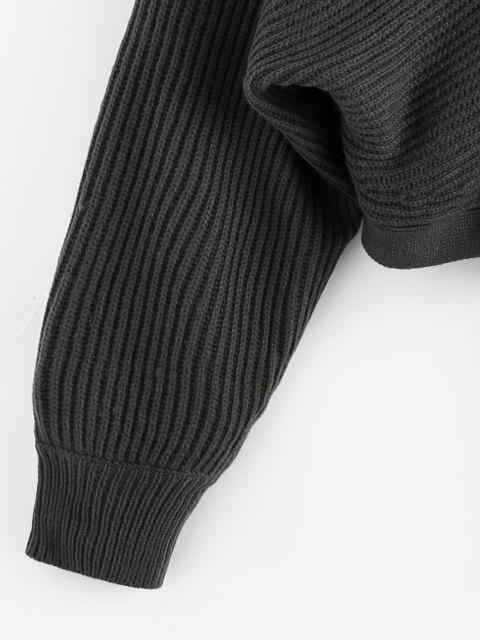sale ZAFUL Tie Back Plunging Batwing Sleeve Sweater - DARK SLATE GREY M Mobile
