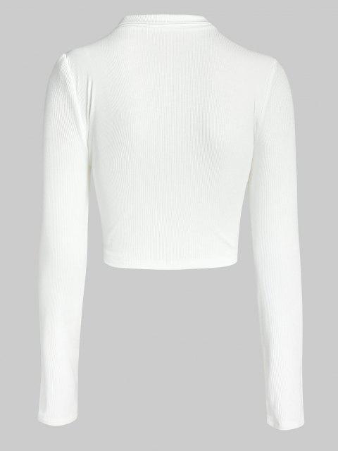 unique ZAFUL Half Zip Crop Tee - WHITE L Mobile