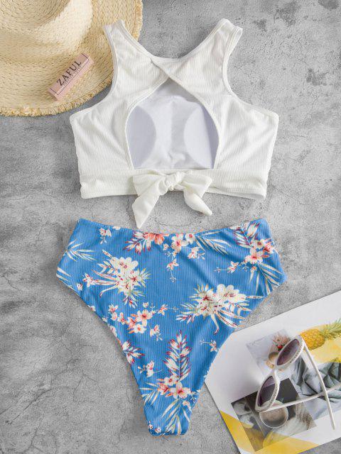 ZAFUL Gerippte Tankini Badebekleidung mit Floralem Druck - Weiß S Mobile