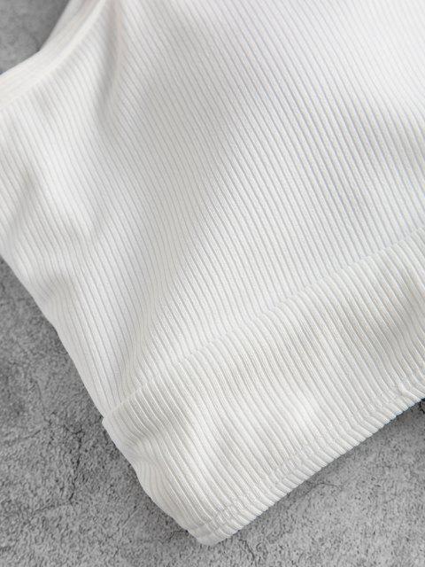 best ZAFUL Ribbed Cutout Floral Print Tankini Swimwear - WHITE XL Mobile