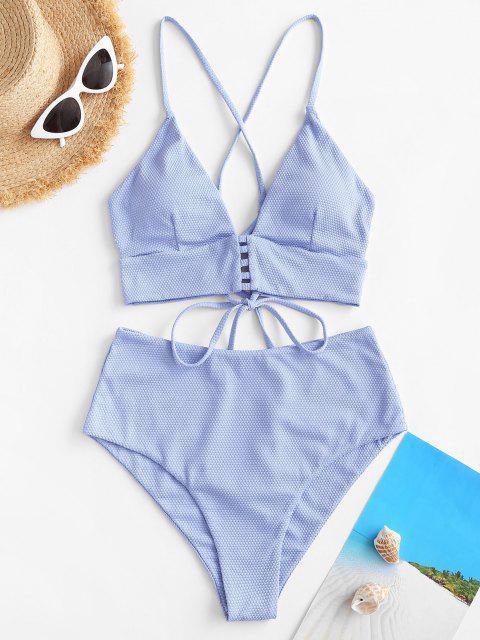 ZAFUL Textured Strappy Crisscross Back Tankini Swimwear - أزرق فاتح L Mobile
