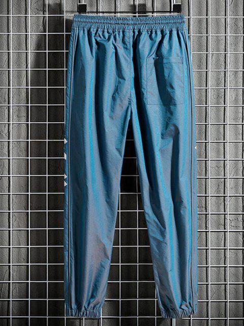 Pantalones Rayados Estampado Letras - Azul de Arándanos L Mobile