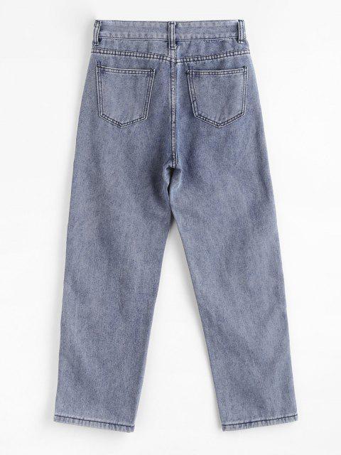 lady Multi Pockets Straight Leg Jeans - BLUE S Mobile