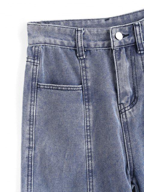affordable Multi Pockets Straight Leg Jeans - BLUE XS Mobile